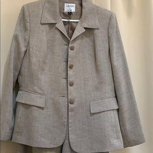 Brown Herringbone Pantsuit Le Suit